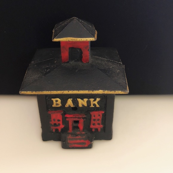 Antique Small Cast Iron Coin Bank Building 1870